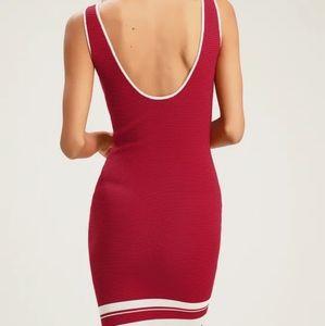 Lulu's Dresses - Red Striped Sleeveless Ribbed Bodycon Dress